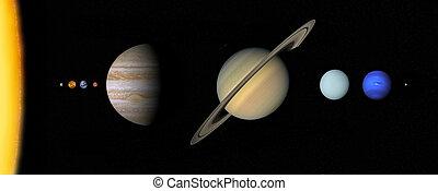 sistema solar, a, escala