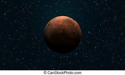 Solar, -, sistema, él, planeta, mars., sun., cuarto ...