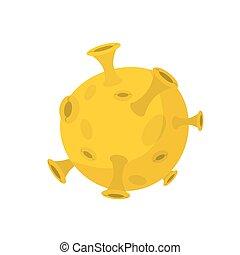 sistema solare, giallo, isolato, pianeta, fondo, luna bianca, style., cartone animato