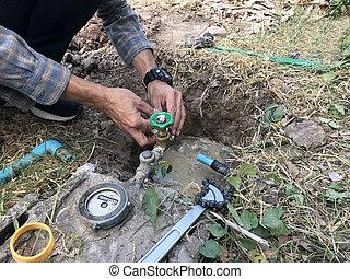 sistema, suministro, trabajador, instalar, prueba, metro, maintenance., tubo, agua, reparación, plomero
