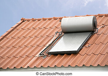 sistema, techo, agua, caliente, panel solar