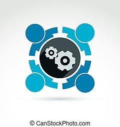 sistema, tema, ilustración, -, empresa, engranajes, vector, organiza