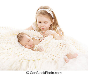 Sister and Brother Kids, Sleeping Baby, Girl Child and Newborn Boy