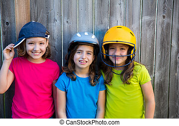 Sister and friends sport kid girls portrait smiling happy