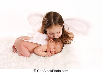 Sister angels - Portrait of a newborn baby with angel wings...