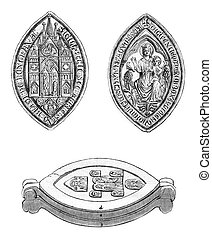 Sister Boxgrove Priory, Cast seal, vintage engraving. - ...