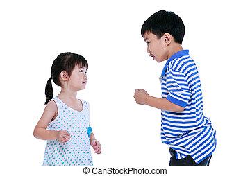 sister., discutir, isolado, irmão, experiência., entre, branca, conflito
