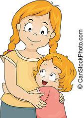 Sister Hug - Illustration of a Little Girl Giving Her Elder...
