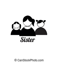 sister icons on white background