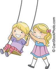 Sister Swing - Illustration of a Little Girl Pushing Her...