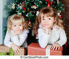 sisters at home at Christmas