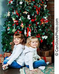 sisters at home Christmas