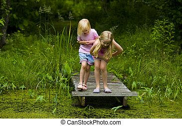 Sisters Exploring Pond