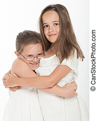 Sisters hug