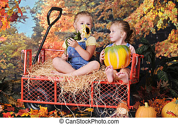 Sisters in an Autumn Wagon