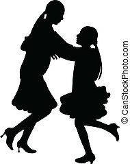 sisters playing, jumping silhouette