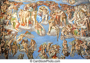 sistine chapel - wall of the sistine chapel in the Vatican,...