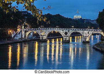 sisto, ponte, in, roma, vicino, notte, italia