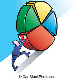Vector Illustration of a Businessman pushing upward a Giant Pie Chart