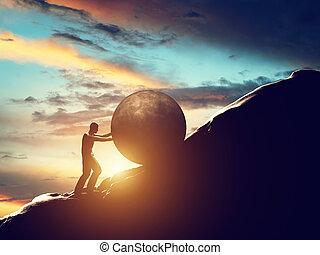 sisyphus, metaphor., 人, 回転, 巨大, コンクリート, ボール, の上, hill.