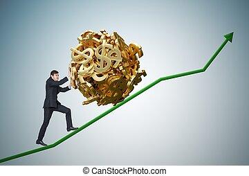 sisyphus, metaphore., joven, hombre de negocios, es, maximizando, ganancias, y