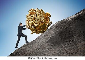 Sisyphus metaphore. Young businessman is maximizing earnings and
