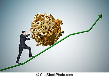 Sisyphus metaphore. Young businessman is maximizing earnings and