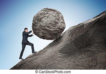 Sisyphus metaphore. Young businessman pushing heavy stone boulde