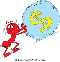 Vector illustration of red sisyphus ant boulder stone uphill