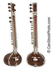Sitar, a string instrument from India, 2 angles, isolated on a white background.