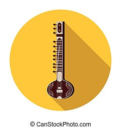Sitar icon in flat style isolated on white background. India symbol stock vector illustration.
