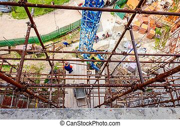 site, échafaud, construction, vue, au-dessus