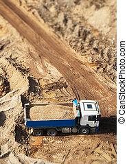 site., above., construction, camion, gravier, vue