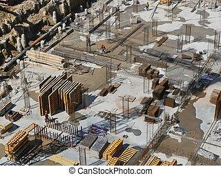 site, au-dessus, vue, construction