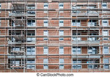 site, bâtiment, emmagasiner construction, façade, échafaudage