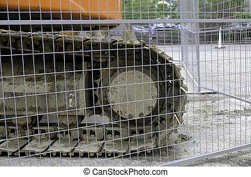 site, barrière, derrière, en ville, pistes, bulldozer, construction