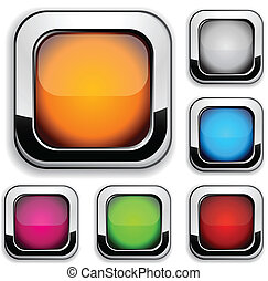 Site buttons. - Collection of shiny buttons. Vector ...