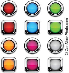 Site buttons. - Collection of shiny buttons. Vector...