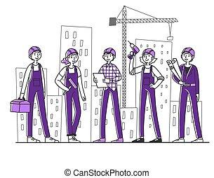 site, bygmestre, arbejder, konstruktion, hold