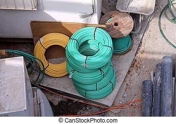 site, câbles, couleur, construction