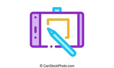 site, conception, tablette, icône, toile, animation
