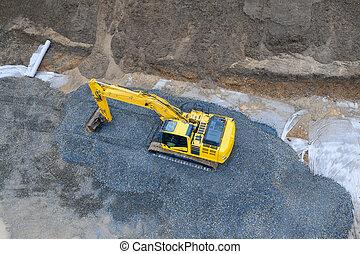site, construction, au-dessus, excavateur