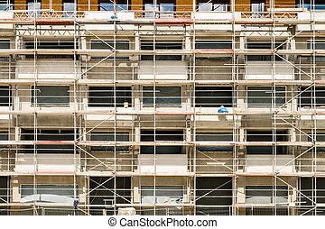 site, construction bâtiments, nouveau, façade, buiding, cadre, échafaudage