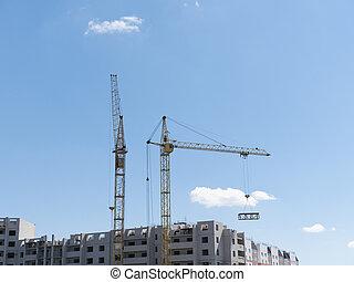 site, construction, contre, ciel, grues, deux