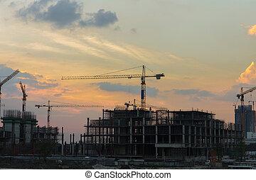 site construction, crépuscule, temps