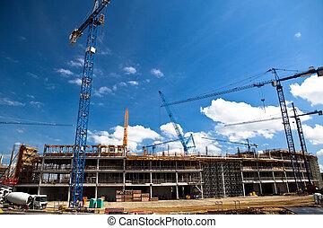 site construction, de, football, stade, dans, wroclaw