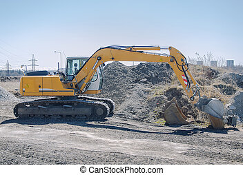 site construction, excavateur