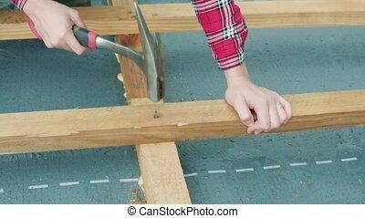 site., construction, femme, ouvrier, jeune