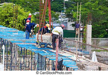 site construction, fonctionnement, main-d'œuvre