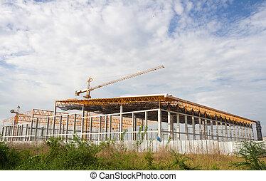 site construction, grue, bâtiment